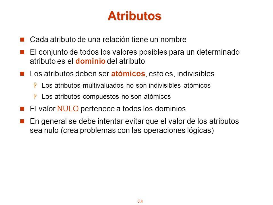 3.4 Atributos Cada atributo de una relación tiene un nombre El conjunto de todos los valores posibles para un determinado atributo es el dominio del a