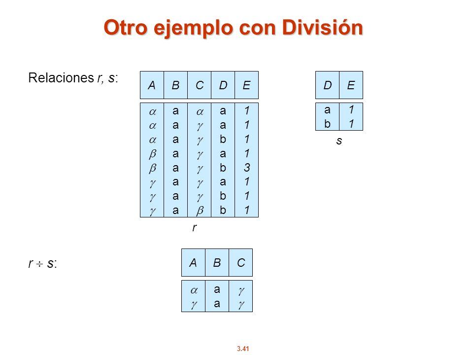 3.41 Otro ejemplo con División AB aaaaaaaaaaaaaaaa CD aabababbaabababb E 1111311111113111 Relaciones r, s: r s: D abab E 1111 AB aaaa C r s
