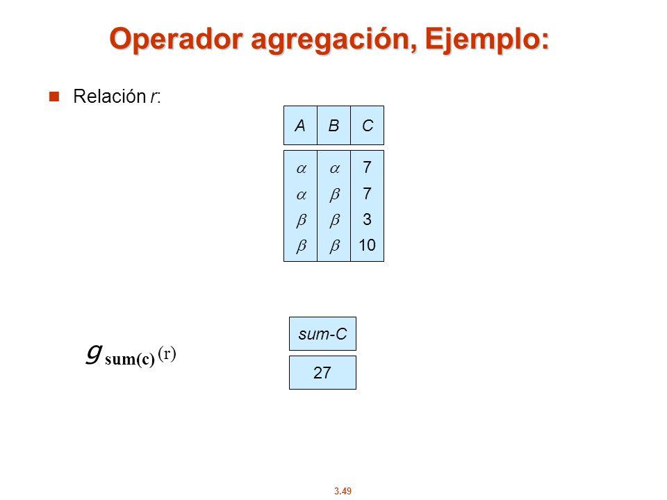 3.49 Operador agregación, Ejemplo: Relación r: AB C 7 3 10 g sum(c) (r) sum-C 27