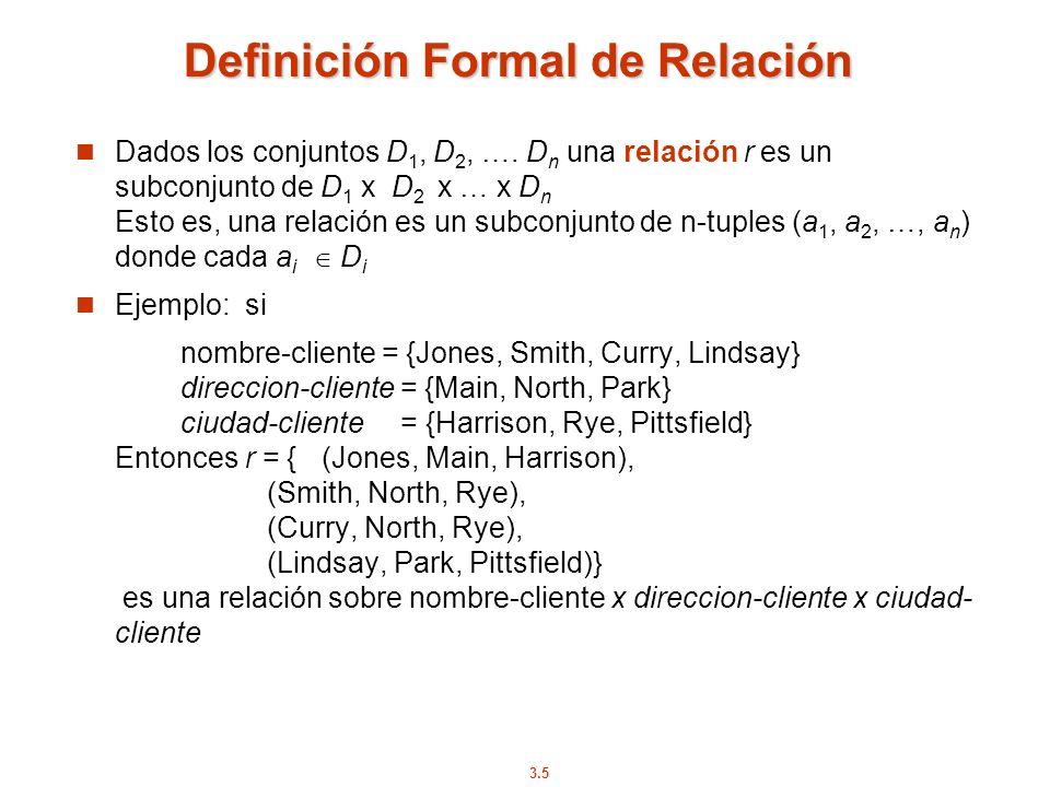 3.5 Definición Formal de Relación Dados los conjuntos D 1, D 2, …. D n una relación r es un subconjunto de D 1 x D 2 x … x D n Esto es, una relación e