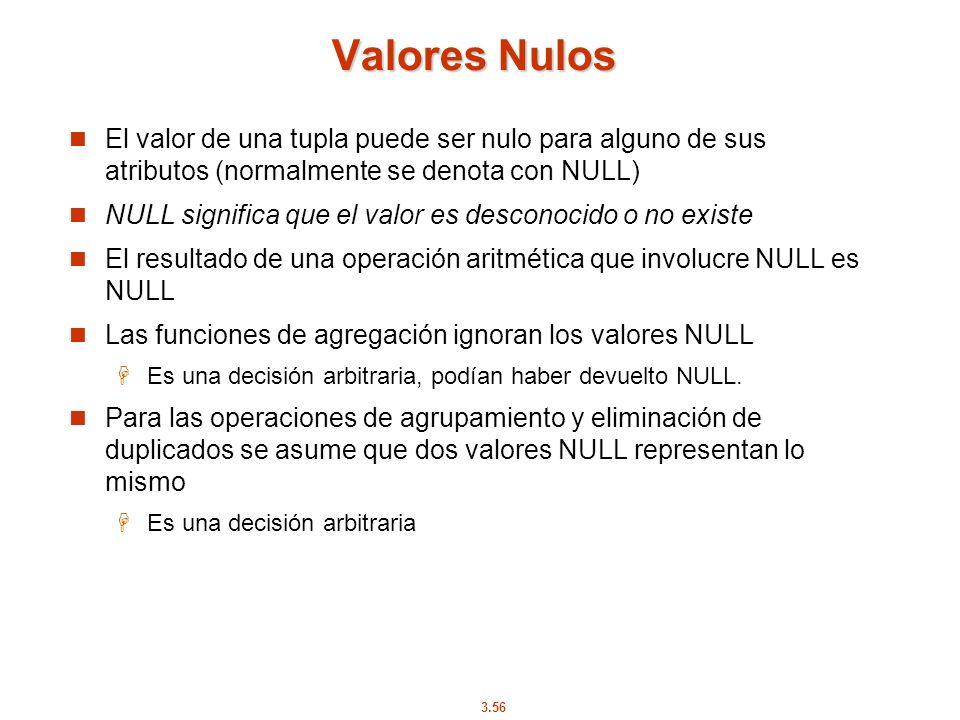 3.56 Valores Nulos El valor de una tupla puede ser nulo para alguno de sus atributos (normalmente se denota con NULL) NULL significa que el valor es d