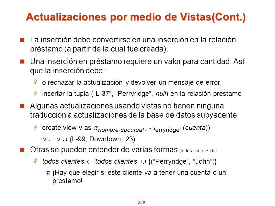 3.70 Actualizaciones por medio de Vistas(Cont.) La inserción debe convertirse en una inserción en la relación préstamo (a partir de la cual fue creada