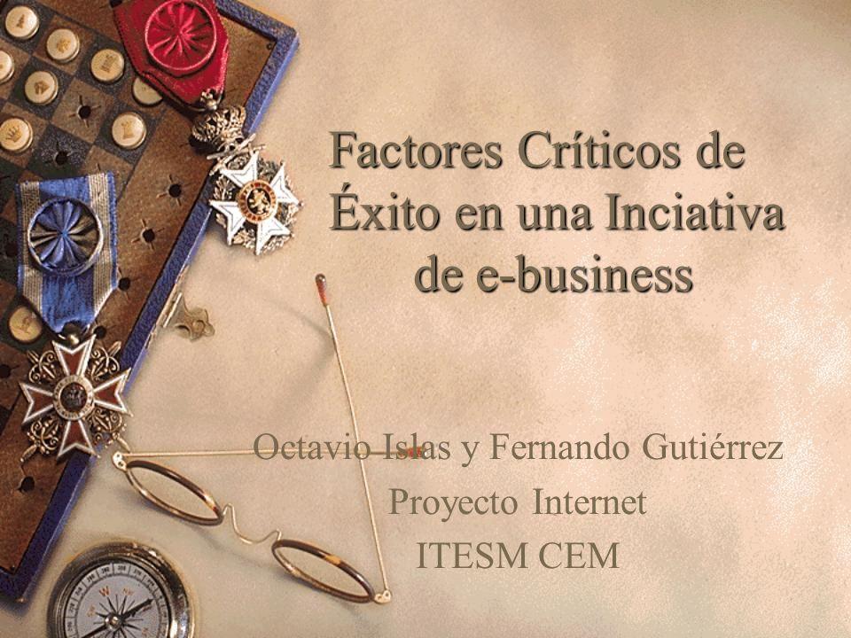 Factores Críticos de Éxito en una Inciativa de e-business Octavio Islas y Fernando Gutiérrez Proyecto Internet ITESM CEM