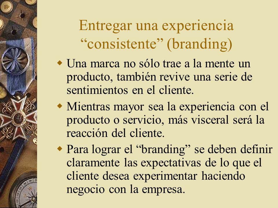 Entregar una experiencia consistente (branding) Una marca no sólo trae a la mente un producto, también revive una serie de sentimientos en el cliente.