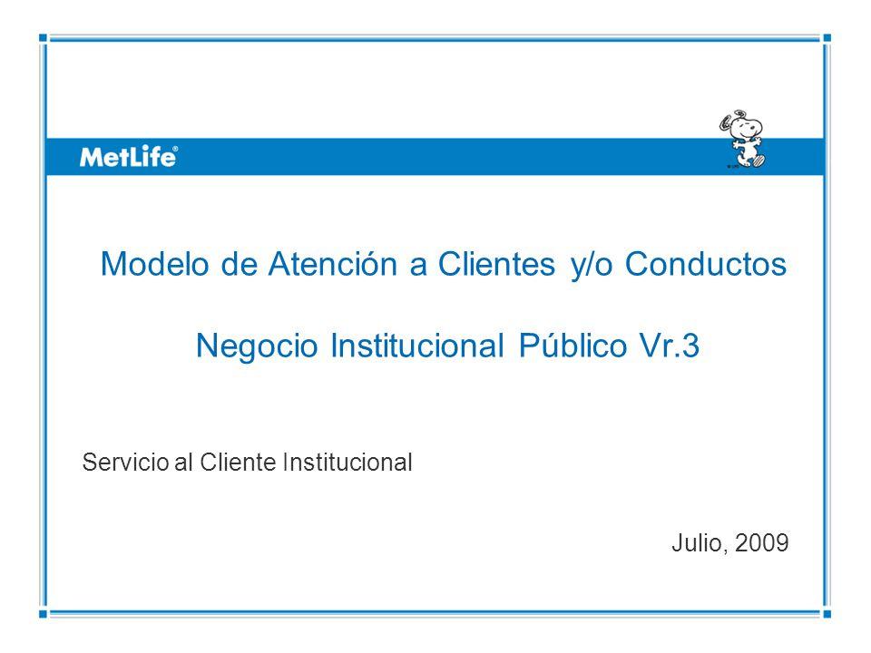 ©UFS Modelo de Atención a Clientes y/o Conductos Negocio Institucional Público Vr.3 Servicio al Cliente Institucional Julio, 2009