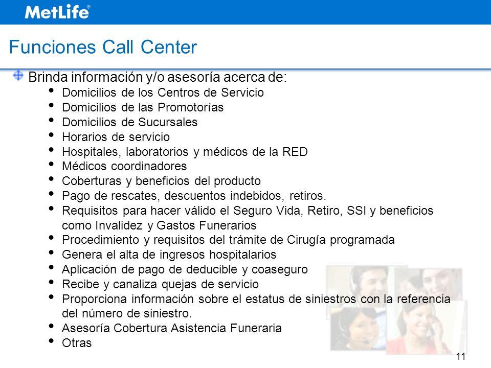 Brinda información y/o asesoría acerca de: Domicilios de los Centros de Servicio Domicilios de las Promotorías Domicilios de Sucursales Horarios de se