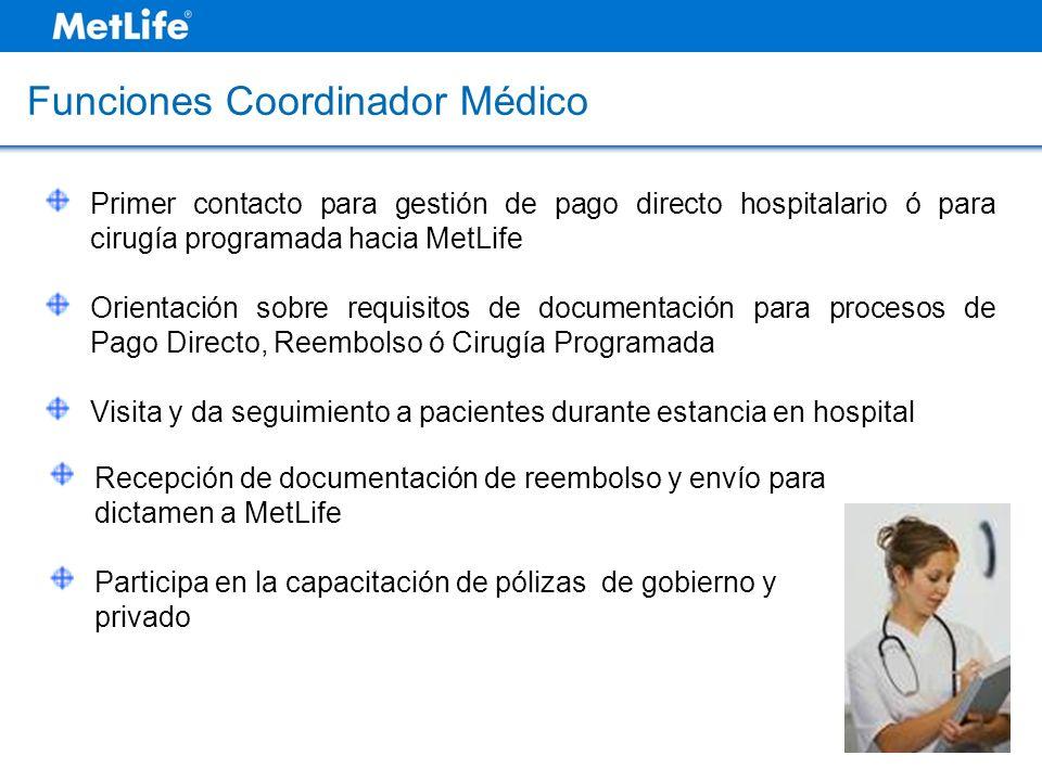 Primer contacto para gestión de pago directo hospitalario ó para cirugía programada hacia MetLife Orientación sobre requisitos de documentación para p