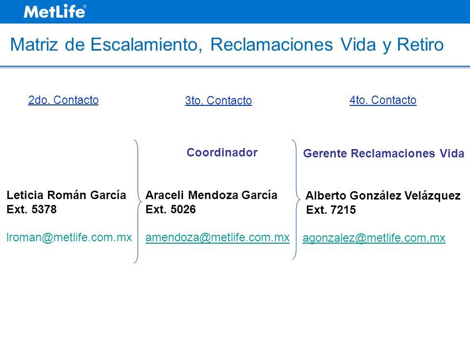 Matriz de Escalamiento, Reclamaciones Vida y Retiro Gerente Reclamaciones Vida Alberto González Velázquez Ext. 7215 agonzalez@metlife.com.mx 4to. Cont