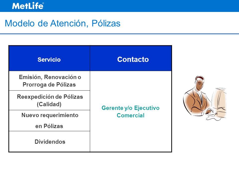 Modelo de Atención, Pólizas Servicio Contacto Emisión, Renovación o Prorroga de Pólizas Gerente y/o Ejecutivo Comercial Reexpedición de Pólizas (Calid