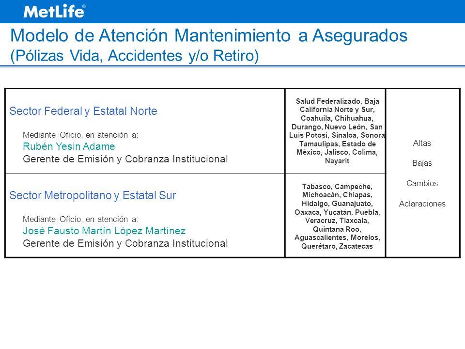 Modelo de Atención Mantenimiento a Asegurados (Pólizas Vida, Accidentes y/o Retiro) Sector Federal y Estatal Norte Mediante Oficio, en atención a: Rub