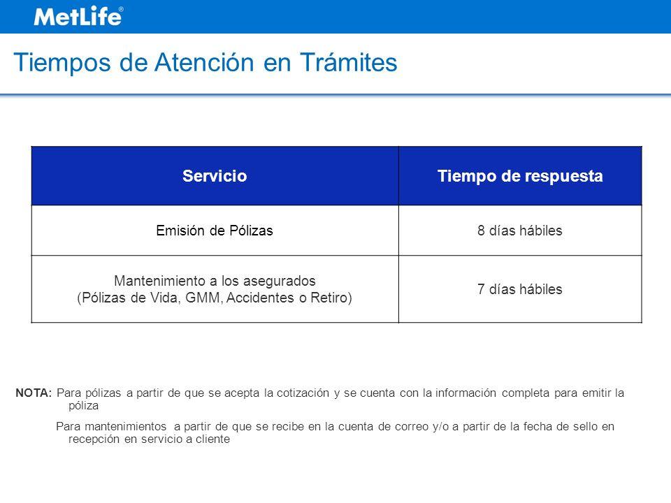 Tiempos de Atención en Trámites ServicioTiempo de respuesta Emisión de Pólizas8 días hábiles Mantenimiento a los asegurados (Pólizas de Vida, GMM, Acc