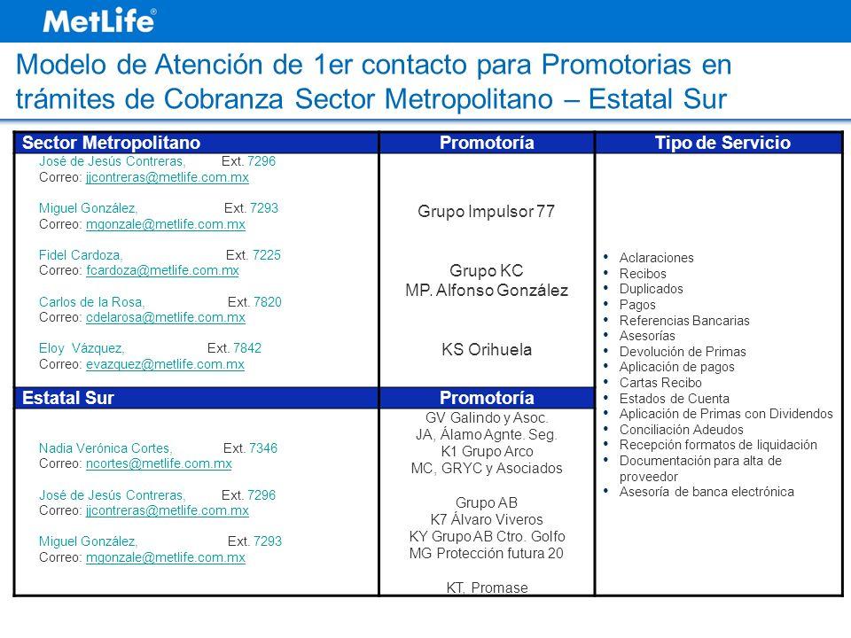 Sector MetropolitanoPromotoríaTipo de Servicio José de Jesús Contreras, Ext. 7296 Correo: jjcontreras@metlife.com.mxjjcontreras@metlife.com.mx Miguel