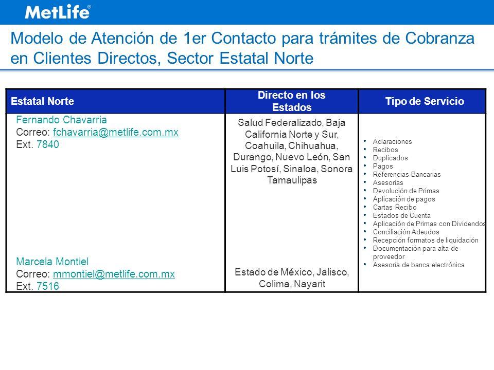 Estatal Norte Directo en los Estados Tipo de Servicio Fernando Chavarria Correo: fchavarria@metlife.com.mxfchavarria@metlife.com.mx Ext. 7840 Marcela
