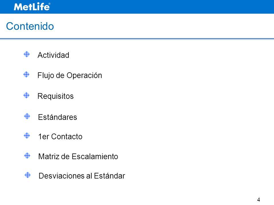 Actividad Contenido Flujo de Operación Requisitos Estándares 1er Contacto Matriz de Escalamiento Desviaciones al Estándar 4