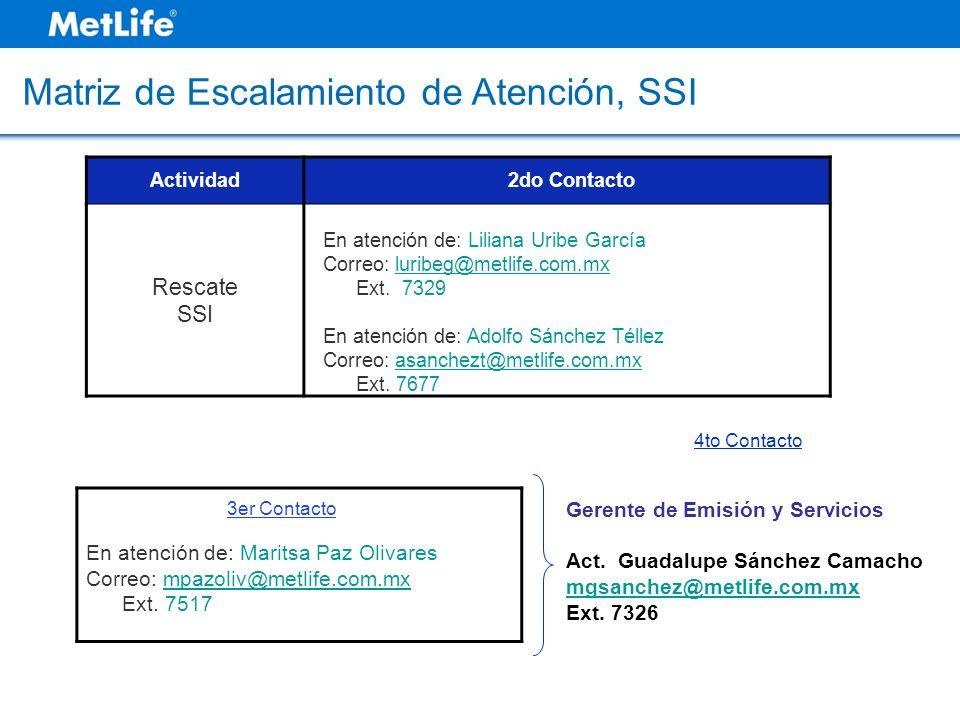 Matriz de Escalamiento de Atención, SSI Actividad2do Contacto Rescate SSI En atención de: Liliana Uribe García Correo: luribeg@metlife.com.mxluribeg@m