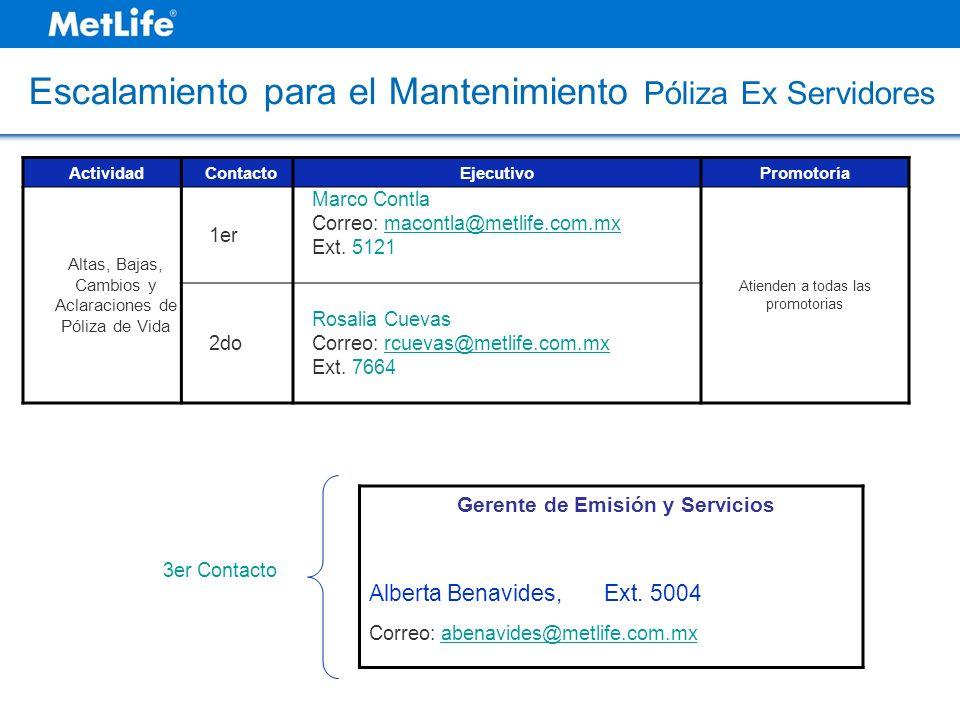 ActividadContactoEjecutivoPromotoría Altas, Bajas, Cambios y Aclaraciones de Póliza de Vida 1er Marco Contla Correo: macontla@metlife.com.mx Ext. 5121