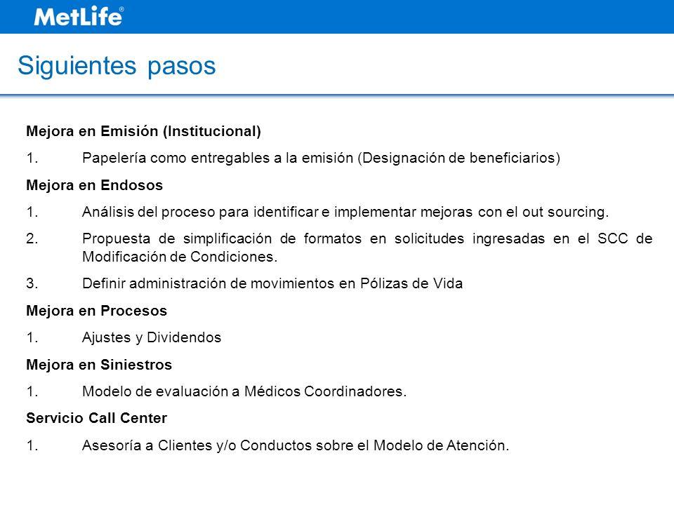 Siguientes pasos Mejora en Emisión (Institucional) 1.Papelería como entregables a la emisión (Designación de beneficiarios) Mejora en Endosos 1.Anális