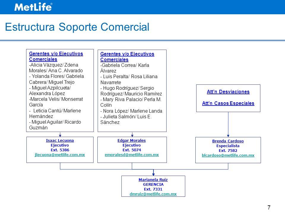 Estructura Soporte Comercial Gerentes y/o Ejecutivos Comerciales -Alicia Vázquez/ Zdena Morales/ Ana C. Alvarado - Yolanda Flores/ Gabriela Cabrera/ M