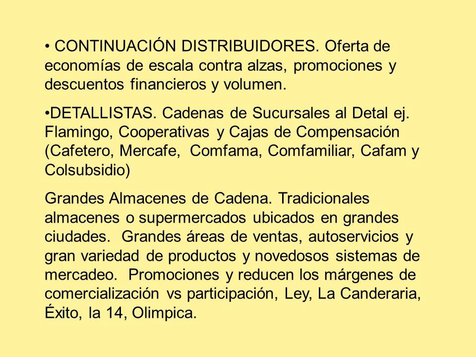 CONTINUACIÓN DISTRIBUIDORES. Oferta de economías de escala contra alzas, promociones y descuentos financieros y volumen. DETALLISTAS. Cadenas de Sucur