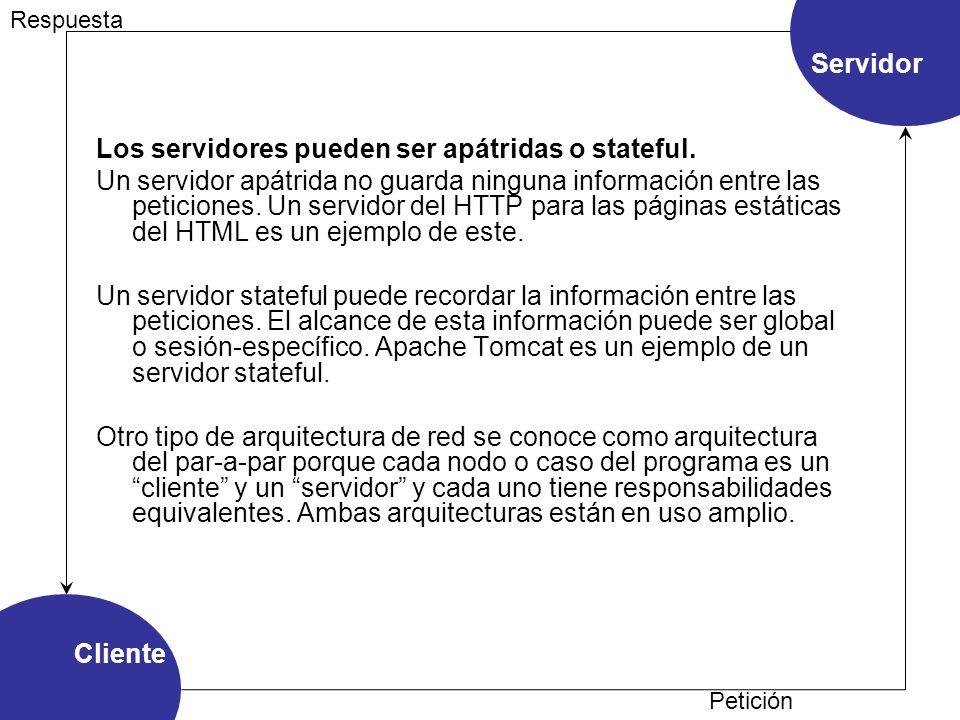 Cliente Servidor Petición Respuesta Los servidores pueden ser apátridas o stateful. Un servidor apátrida no guarda ninguna información entre las petic