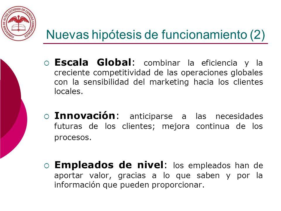 Nuevas hipótesis de funcionamiento (2) Escala Global: combinar la eficiencia y la creciente competitividad de las operaciones globales con la sensibil