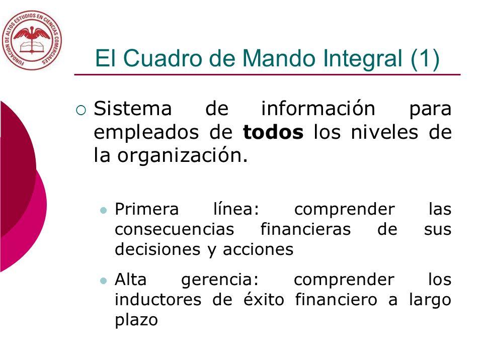 El Cuadro de Mando Integral (1) Sistema de información para empleados de todos los niveles de la organización. Primera línea: comprender las consecuen
