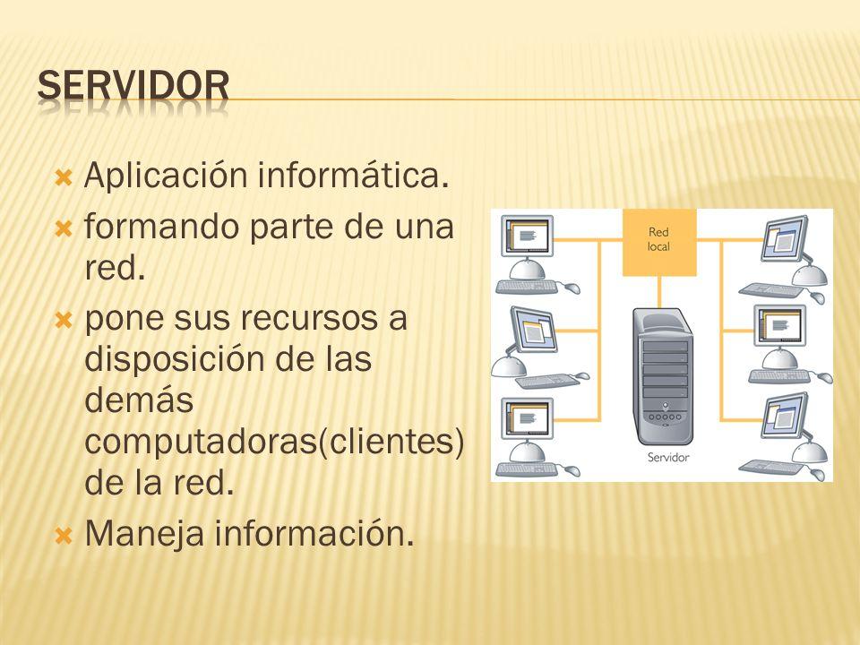 Aplicación informática. formando parte de una red.