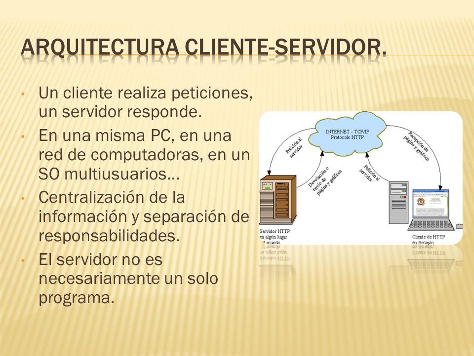 Un cliente realiza peticiones, un servidor responde.