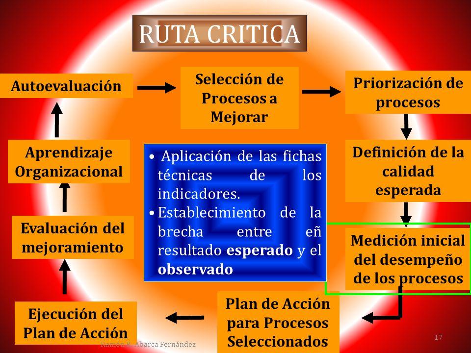 RUTA CRITICA Autoevaluación Selección de Procesos a Mejorar Priorización de procesos Definición de la calidad esperada Medición inicial del desempeño