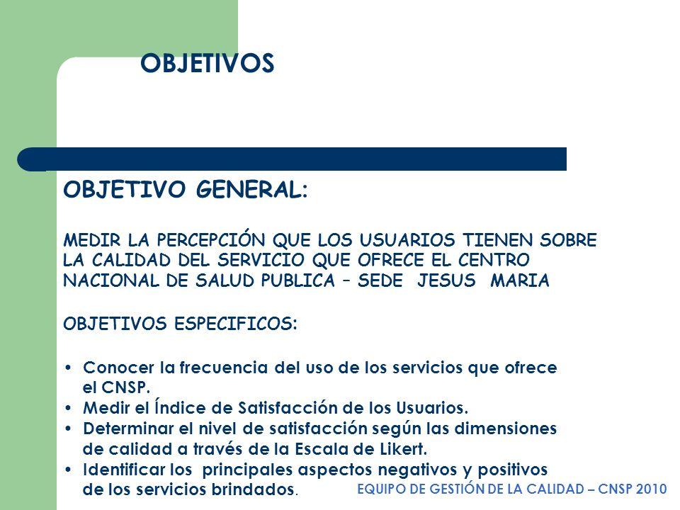 OBJETIVOS EQUIPO DE GESTIÓN DE LA CALIDAD – CNSP 2010 OBJETIVO GENERAL : MEDIR LA PERCEPCIÓN QUE LOS USUARIOS TIENEN SOBRE LA CALIDAD DEL SERVICIO QUE