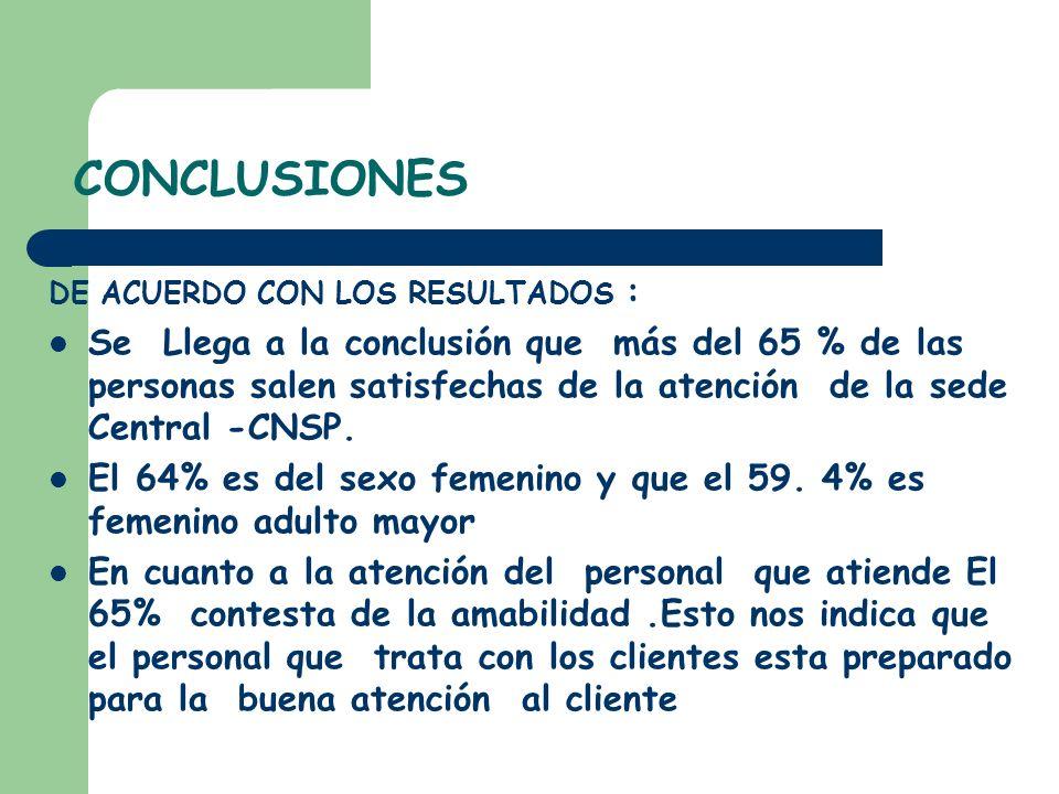 CONCLUSIONES DE ACUERDO CON LOS RESULTADOS : Se Llega a la conclusión que más del 65 % de las personas salen satisfechas de la atención de la sede Cen