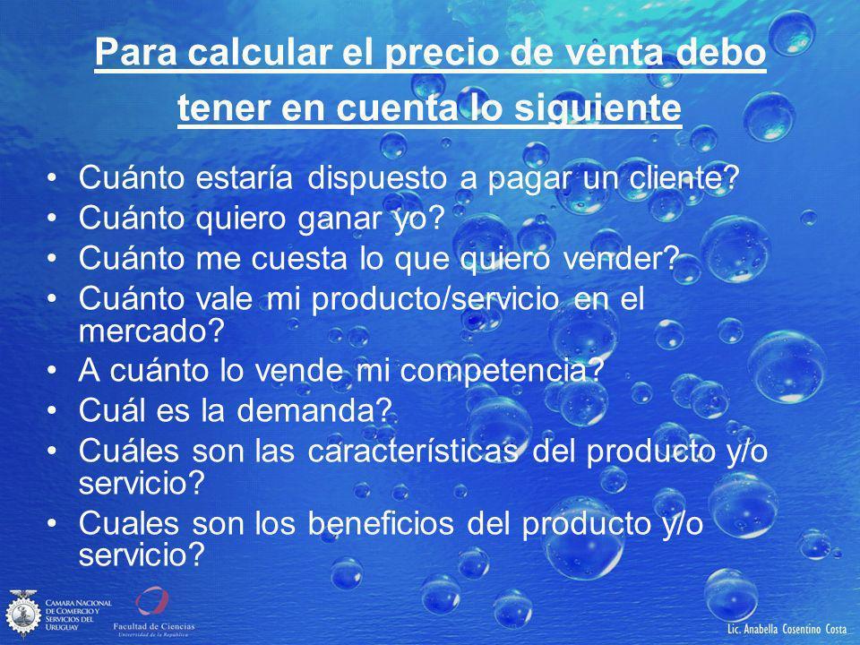 Para calcular el precio de venta debo tener en cuenta lo siguiente Cuánto estaría dispuesto a pagar un cliente.
