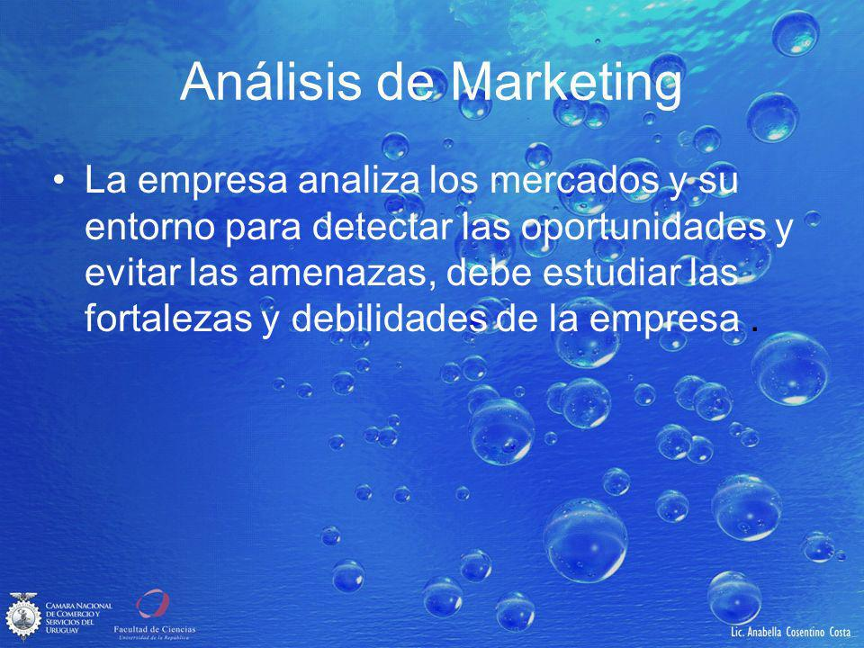 Análisis de Marketing La empresa analiza los mercados y su entorno para detectar las oportunidades y evitar las amenazas, debe estudiar las fortalezas y debilidades de la empresa.