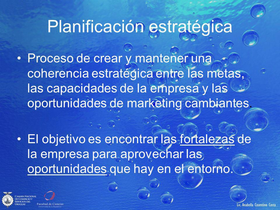 Planificación estratégica Proceso de crear y mantener una coherencia estratégica entre las metas, las capacidades de la empresa y las oportunidades de marketing cambiantes.