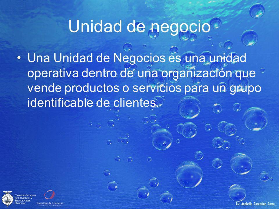 Unidad de negocio Una Unidad de Negocios es una unidad operativa dentro de una organización que vende productos o servicios para un grupo identificable de clientes.