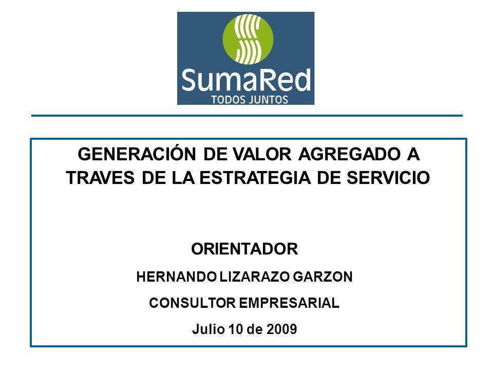 GENERACIÓN DE VALOR AGREGADO A TRAVES DE LA ESTRATEGIA DE SERVICIO ORIENTADOR HERNANDO LIZARAZO GARZON CONSULTOR EMPRESARIAL Julio 10 de 2009