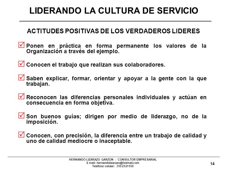 HERNANDO LIZARAZO GARZON - CONSULTOR EMPRESARIAL E mail: hernandolizarazo@hotmail.com Teléfono celular: 310 2121159 ACTITUDES POSITIVAS DE LOS VERDADEROS LIDERES Ponen en práctica en forma permanente los valores de la Organización a través del ejemplo.