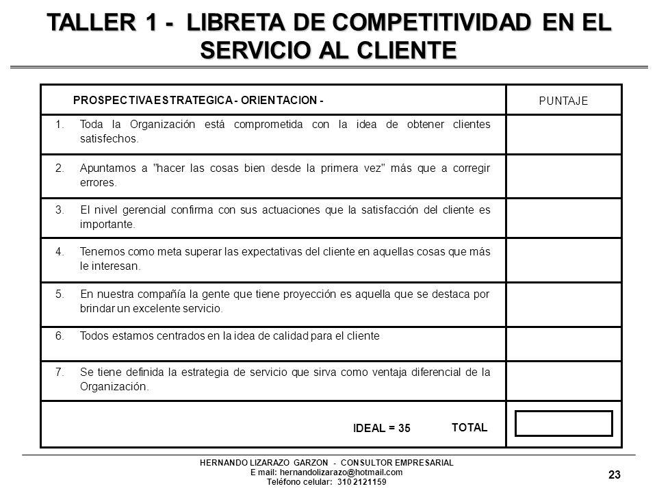 HERNANDO LIZARAZO GARZON - CONSULTOR EMPRESARIAL E mail: hernandolizarazo@hotmail.com Teléfono celular: 310 2121159 1.Toda la Organización está comprometida con la idea de obtener clientes satisfechos.