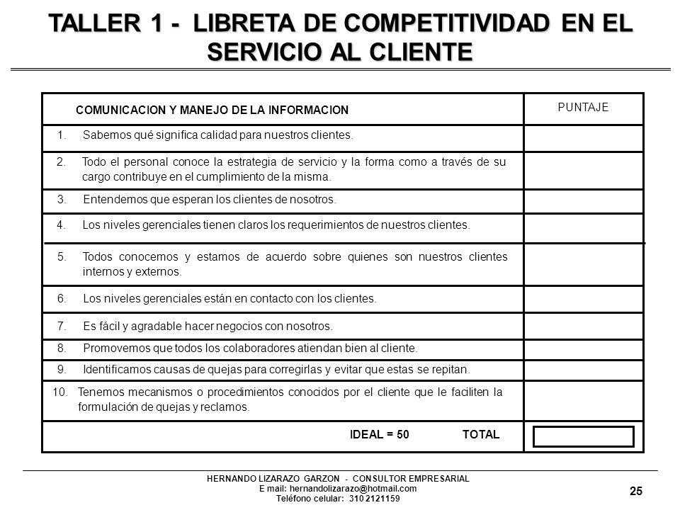 HERNANDO LIZARAZO GARZON - CONSULTOR EMPRESARIAL E mail: hernandolizarazo@hotmail.com Teléfono celular: 310 2121159 1.Sabemos qué significa calidad para nuestros clientes.