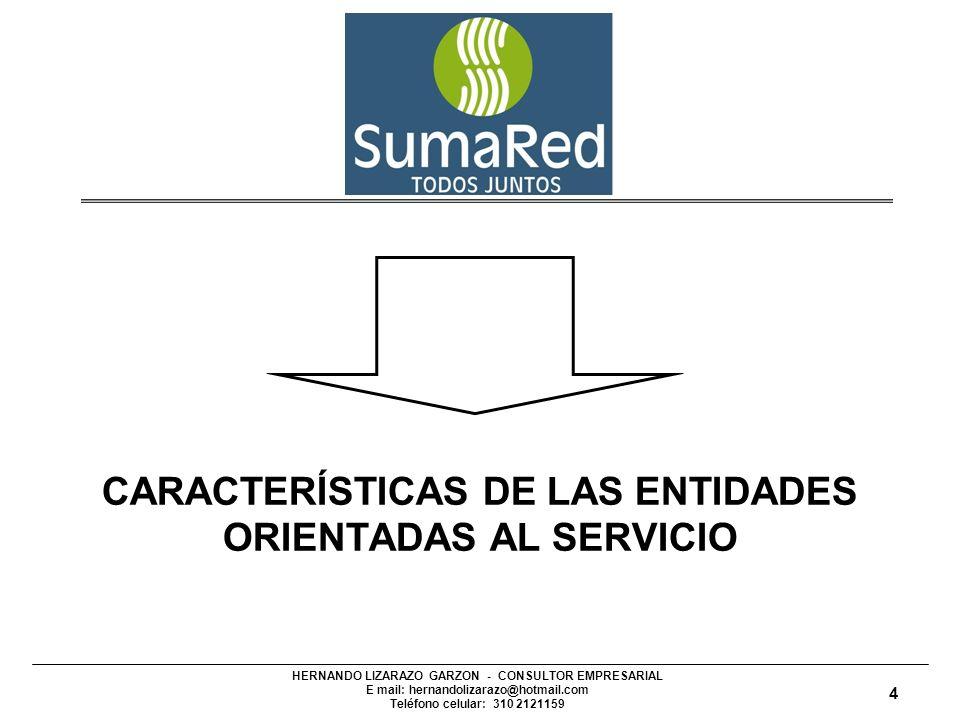 HERNANDO LIZARAZO GARZON - CONSULTOR EMPRESARIAL E mail: hernandolizarazo@hotmail.com Teléfono celular: 310 2121159 CARACTERÍSTICAS DE LAS ENTIDADES ORIENTADAS AL SERVICIO 4