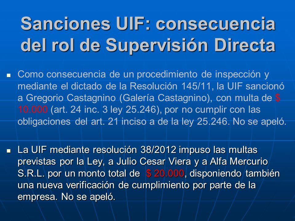 Sanciones UIF: consecuencia del rol de Supervisión Directa Como consecuencia de un procedimiento de inspección y mediante el dictado de la Resolución