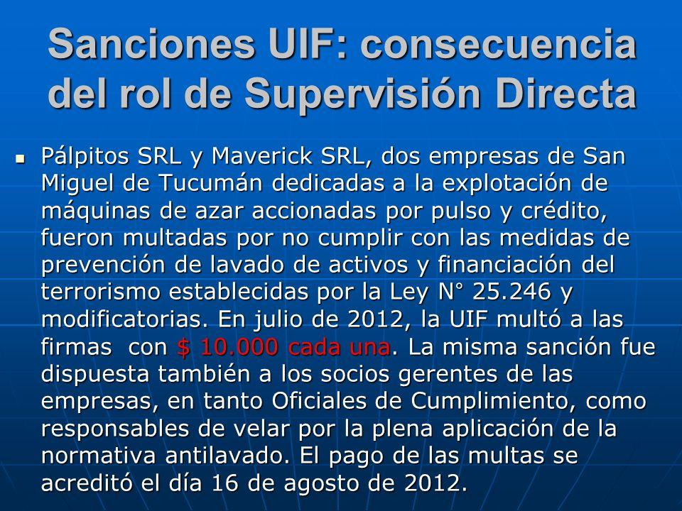 Sanciones UIF: consecuencia del rol de Supervisión Directa Pálpitos SRL y Maverick SRL, dos empresas de San Miguel de Tucumán dedicadas a la explotaci