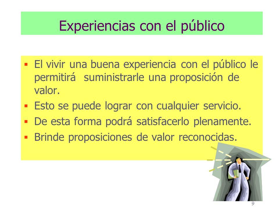 9 Experiencias con el público El vivir una buena experiencia con el público le permitirá suministrarle una proposición de valor.