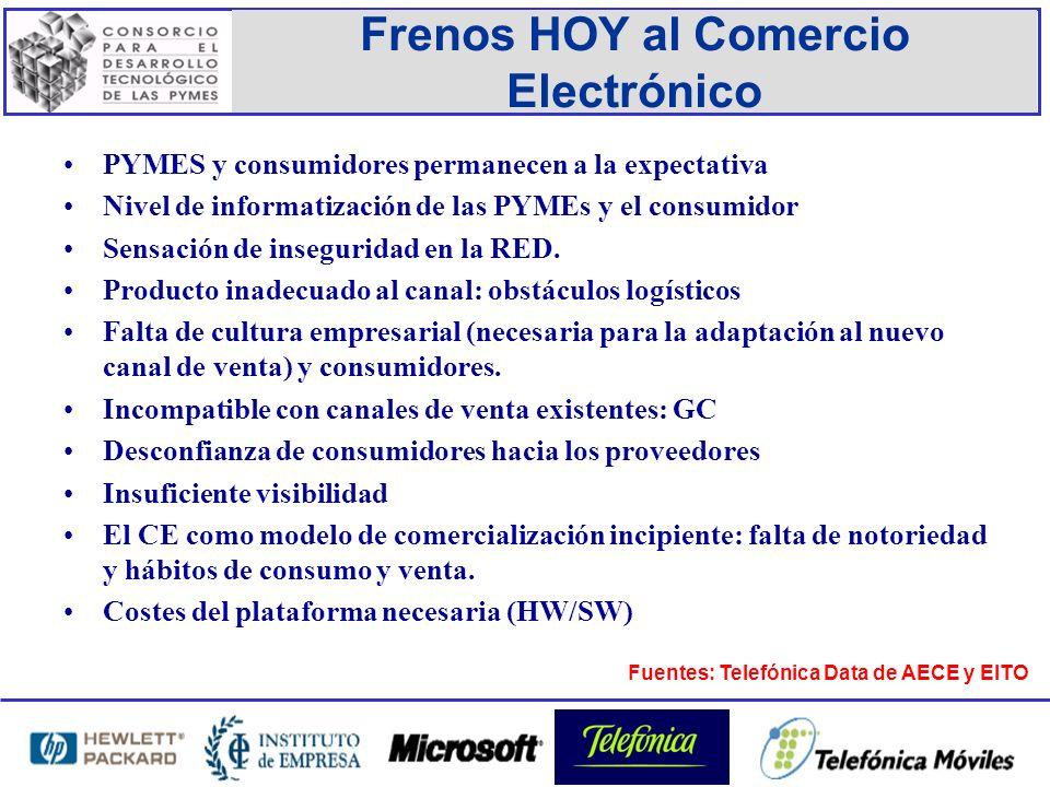 Frenos HOY al Comercio Electrónico PYMES y consumidores permanecen a la expectativa Nivel de informatización de las PYMEs y el consumidor Sensación de inseguridad en la RED.