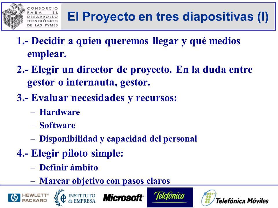 El Proyecto en tres diapositivas (I) 1.- Decidir a quien queremos llegar y qué medios emplear.