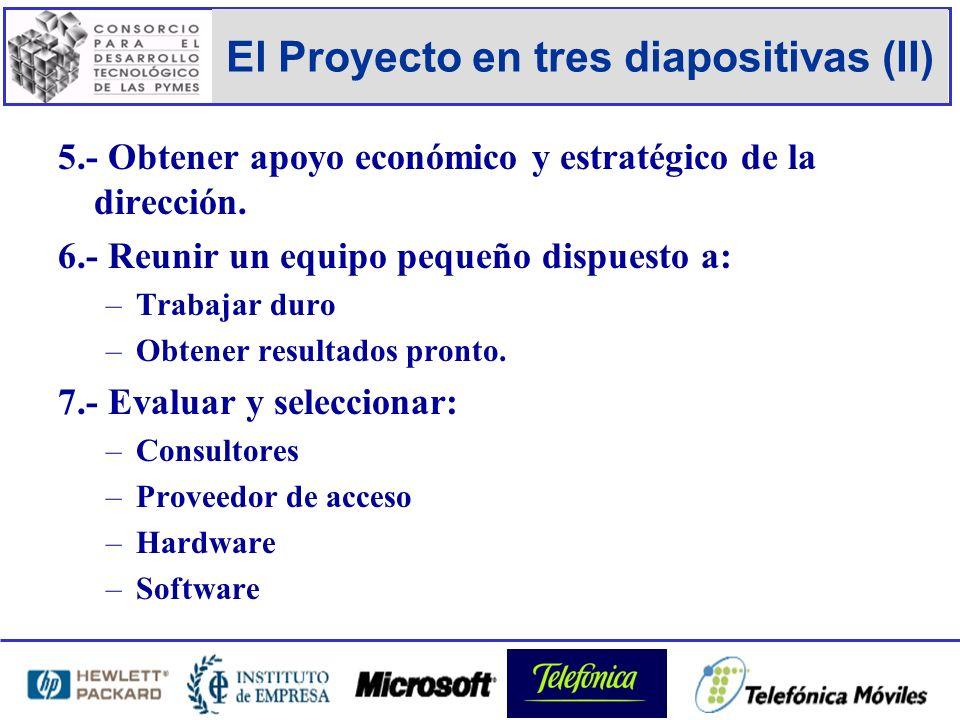 El Proyecto en tres diapositivas (II) 5.- Obtener apoyo económico y estratégico de la dirección.