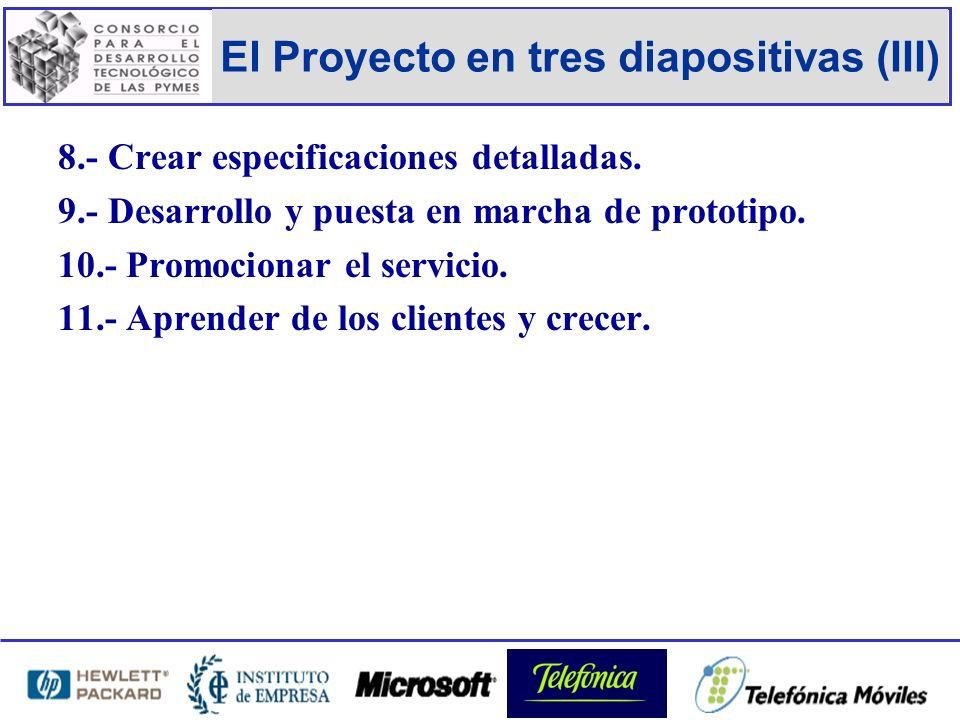 El Proyecto en tres diapositivas (III) 8.- Crear especificaciones detalladas.