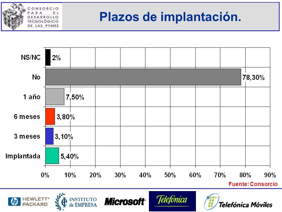 Plazos de implantación. Fuente: Consorcio