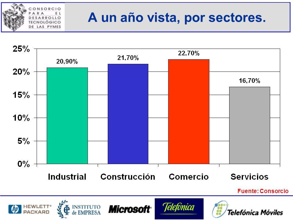 A un año vista, por sectores. Fuente: Consorcio