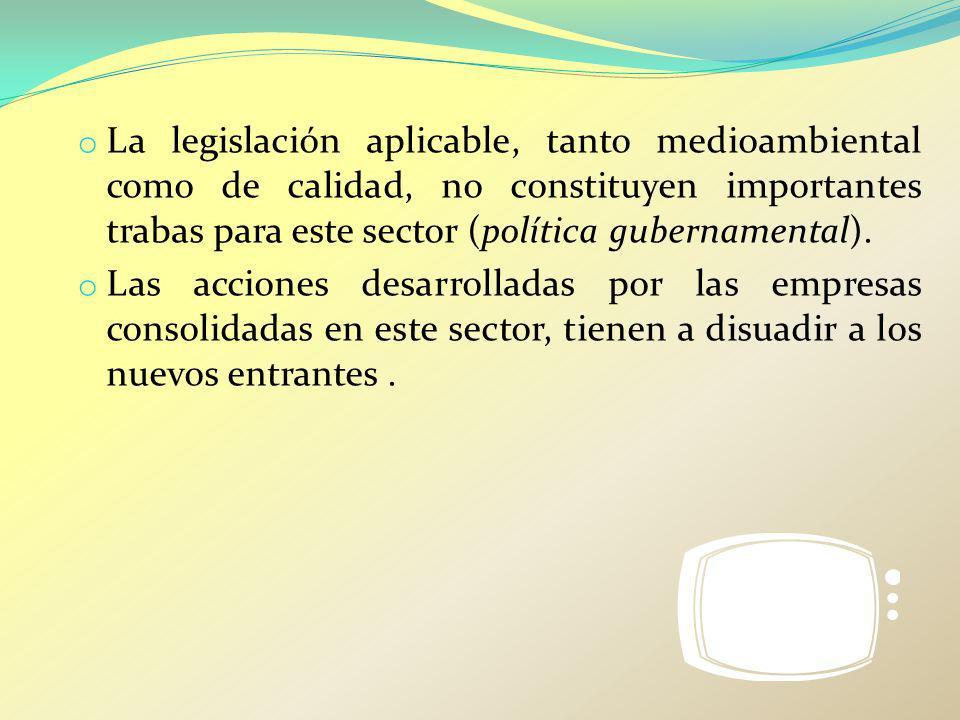 o La legislación aplicable, tanto medioambiental como de calidad, no constituyen importantes trabas para este sector (política gubernamental). o Las a
